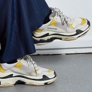 Balenciaga Grey, White And Yellow Triple S Sneaker